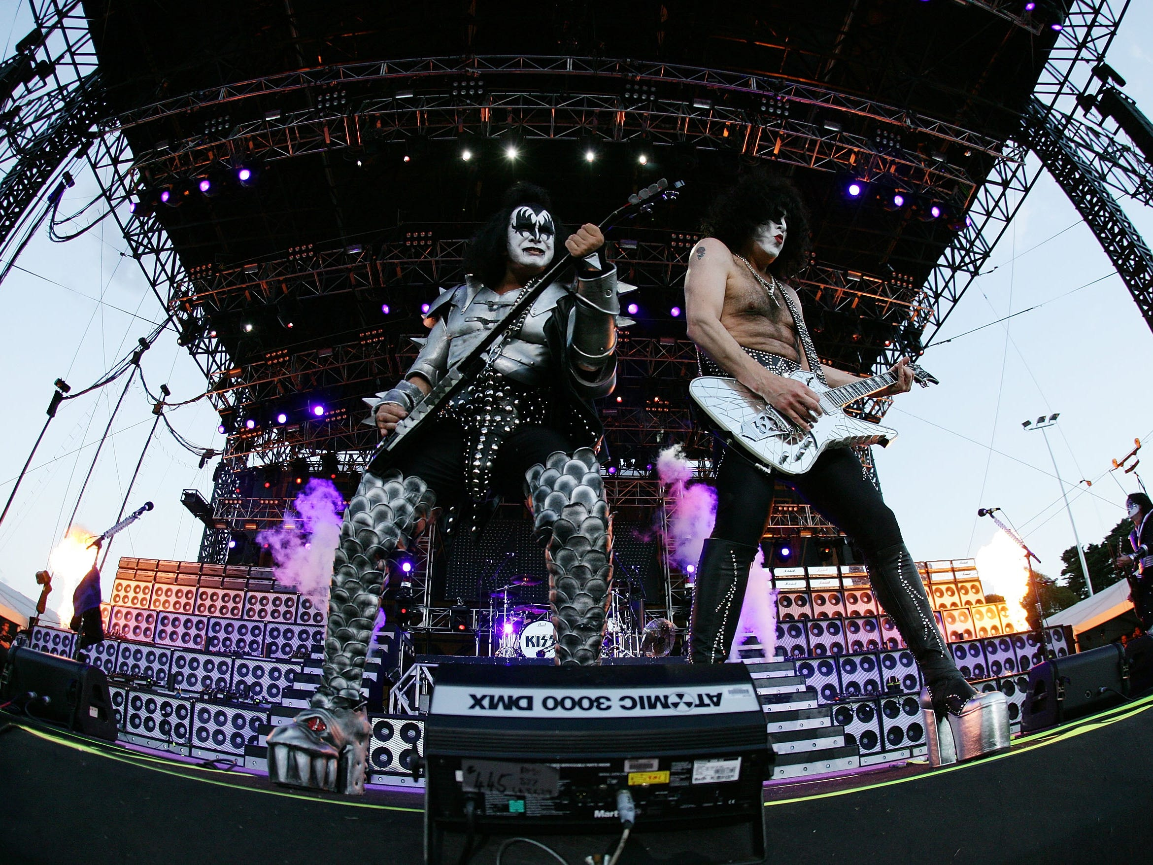 MELBOURNE, AUSTRALIA - MARCH 16:  Gene Simmons and Paul Stanley of Kiss perform on-stage for the first leg of their world tour following the Australian Formula One Grand Prix at the Albert Park Circuit on March 16, 2008 in Melbourne, Australia.  (Photo by Kristian Dowling/Getty Images)