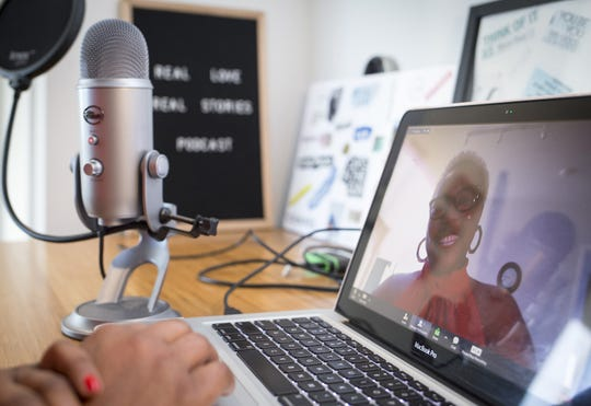 Kanu Jacobsen records stories about couples and how they met for a podcast she produces in her Phoenix apartment.