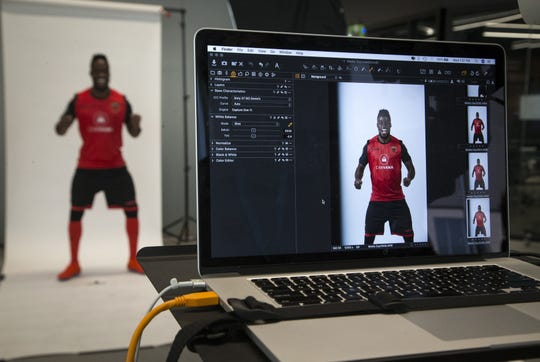 Junior Flemmings has his photo taken during the Phoenix Rising's media day on Feb. 13.