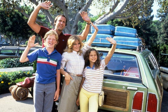 """The cast of the 1983 film """"National Lampoon's Vacation."""" From left: Anthony Michael Hall, Chevy Chase, Beverly D'Angelo, Dana Barron."""