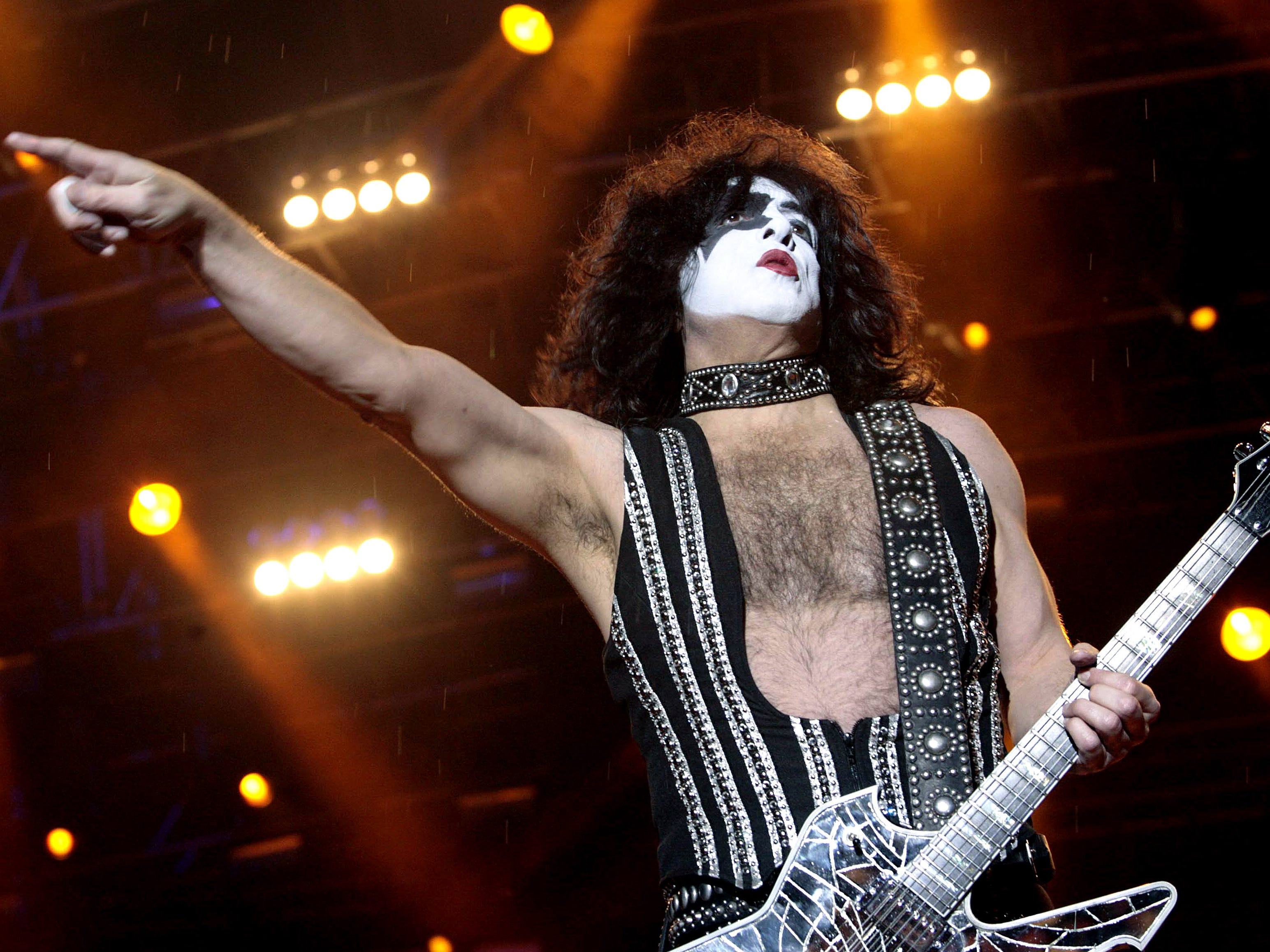 U.S. rock band kiss guitarist Paul Stanley performs during his concert on April 11, 2009, in Bogota. The concert is part of the band's tour to celebrate their 35th anniversary. AFP PHOTO/STR / AFP / -        (Photo credit should read -/AFP/Getty Images)