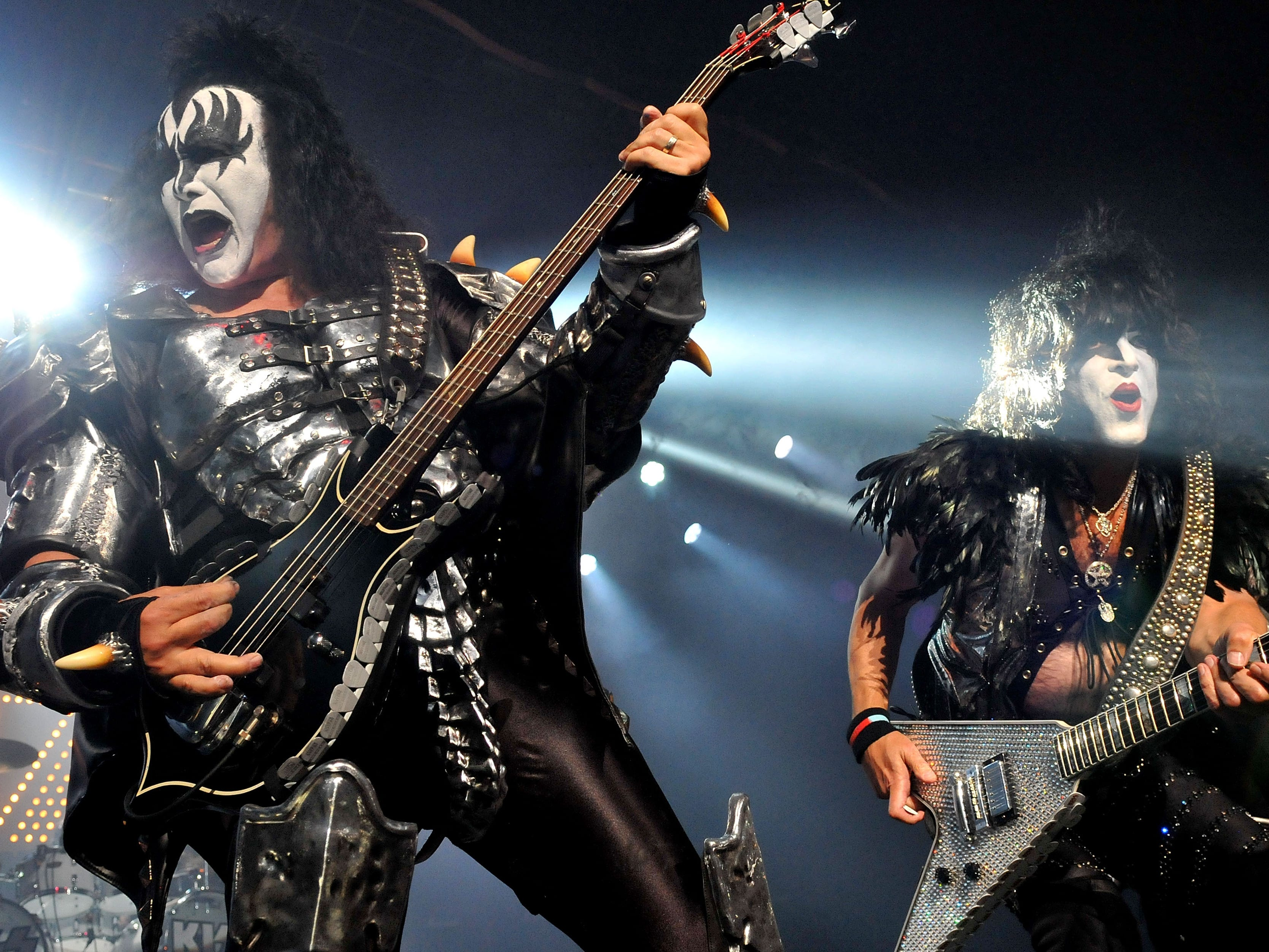 LONDON, ENGLAND - JULY 04:  Gene Simmons and Paul Stanley of US rock group Kiss perform live on stage, for a one-off Independence Day show as a fundraiser for the Help for Heroes charity, at The Kentish Town Forum on July 4, 2012 in London, England.  (Photo by Jim Dyson/Getty Images)
