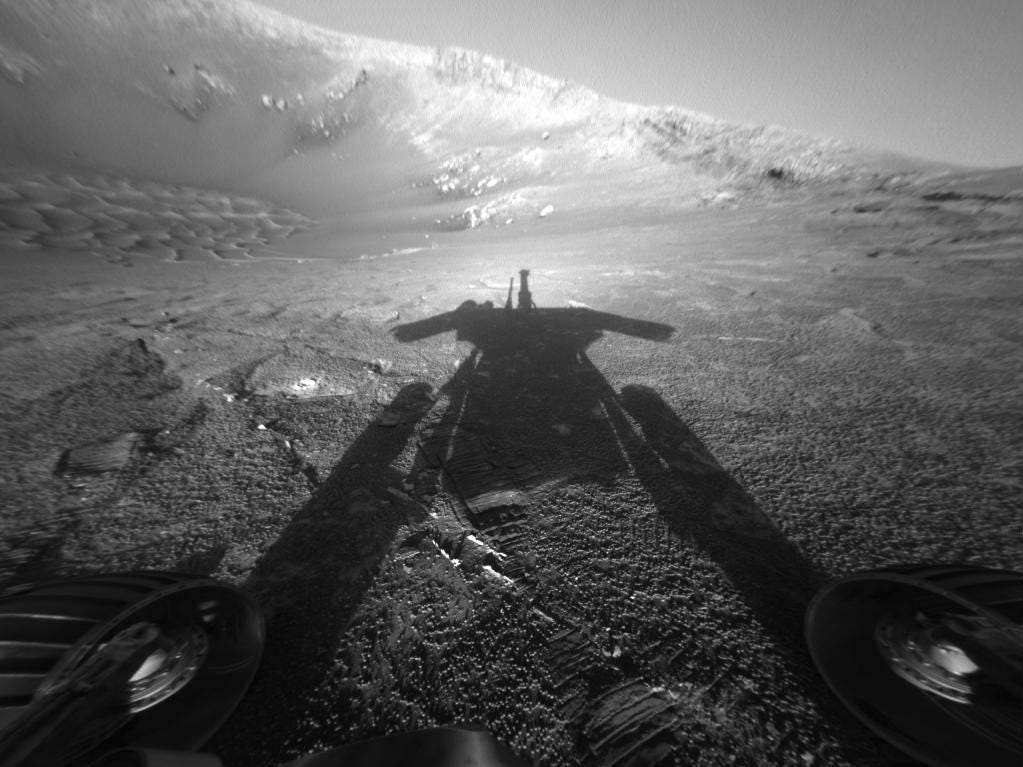 Self-portrait of NASA's Mars Exploration Rover Opportunity taken by the rover's front hazard-avoidance camera on July 26, 2004.