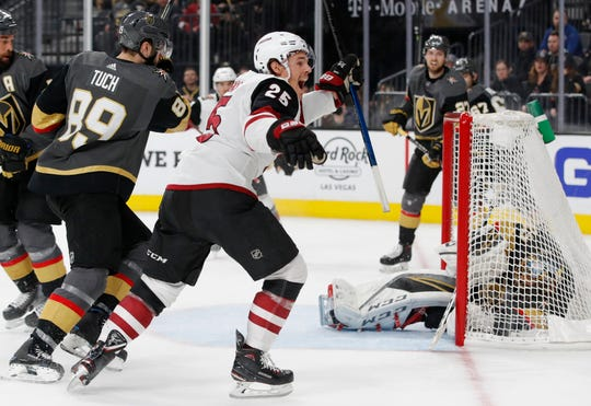Arizona Coyotes center Nick Cousins (25) celebrates after scoring against the Vegas Golden Knights during the third period of an NHL hockey game Tuesday, Feb. 12, 2019, in Las Vegas.