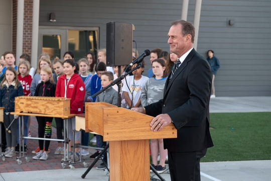 Superintendent John Kriekard, who will retire on June 30, addresses parents, students and community members at Hopi Elementary on Feb. 6, 2019.
