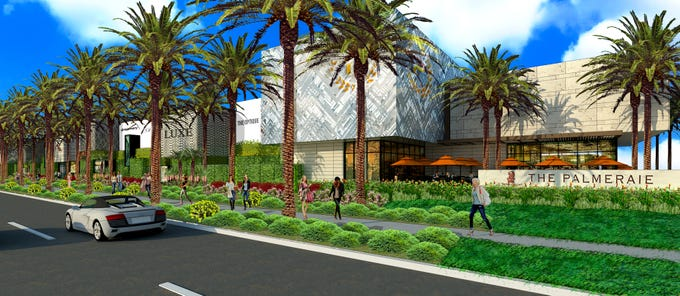 Rendering of the outside of the future retail portion of the Palmeraie master planned community