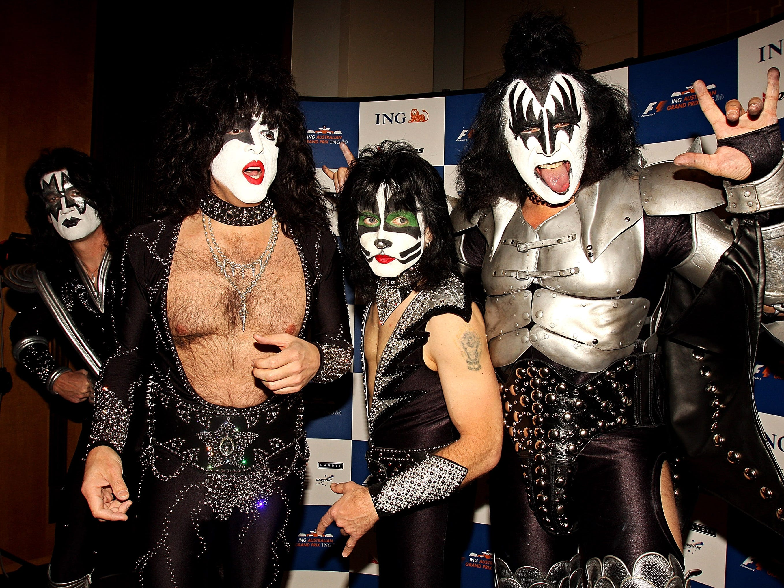 MELBOURNE, AUSTRALIA - MARCH 12:  (L-R) Tommy Thayer, Paul Stanly, Eric Singer and Gene Simmons of the band 'Kiss' pose for the media during a press conference at the Crown Towers on March 12, 2008 in Melbourne, Australia.  (Photo by Luis Enrique Ascui/Getty Images)
