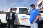 Truck Buds regional manager Andrew Kephart and Truck Buds driver Tom Broderick stand for a photo in Mesa on Feb. 12, 2019.
