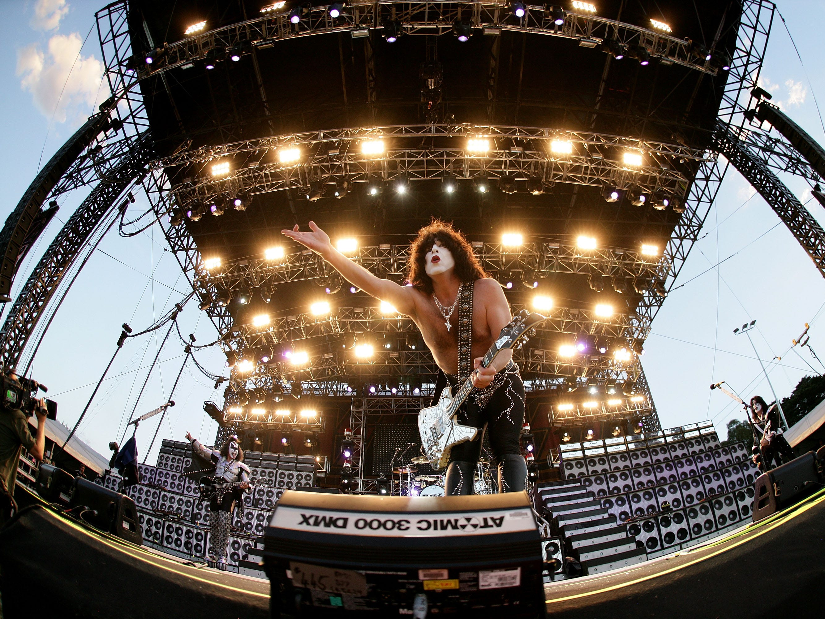 MELBOURNE, AUSTRALIA - MARCH 16:  Paul Stanley of Kiss performs on-stage for the first leg of their world tour following the Australian Formula One Grand Prix at the Albert Park Circuit on March 16, 2008 in Melbourne, Australia.  (Photo by Kristian Dowling/Getty Images)