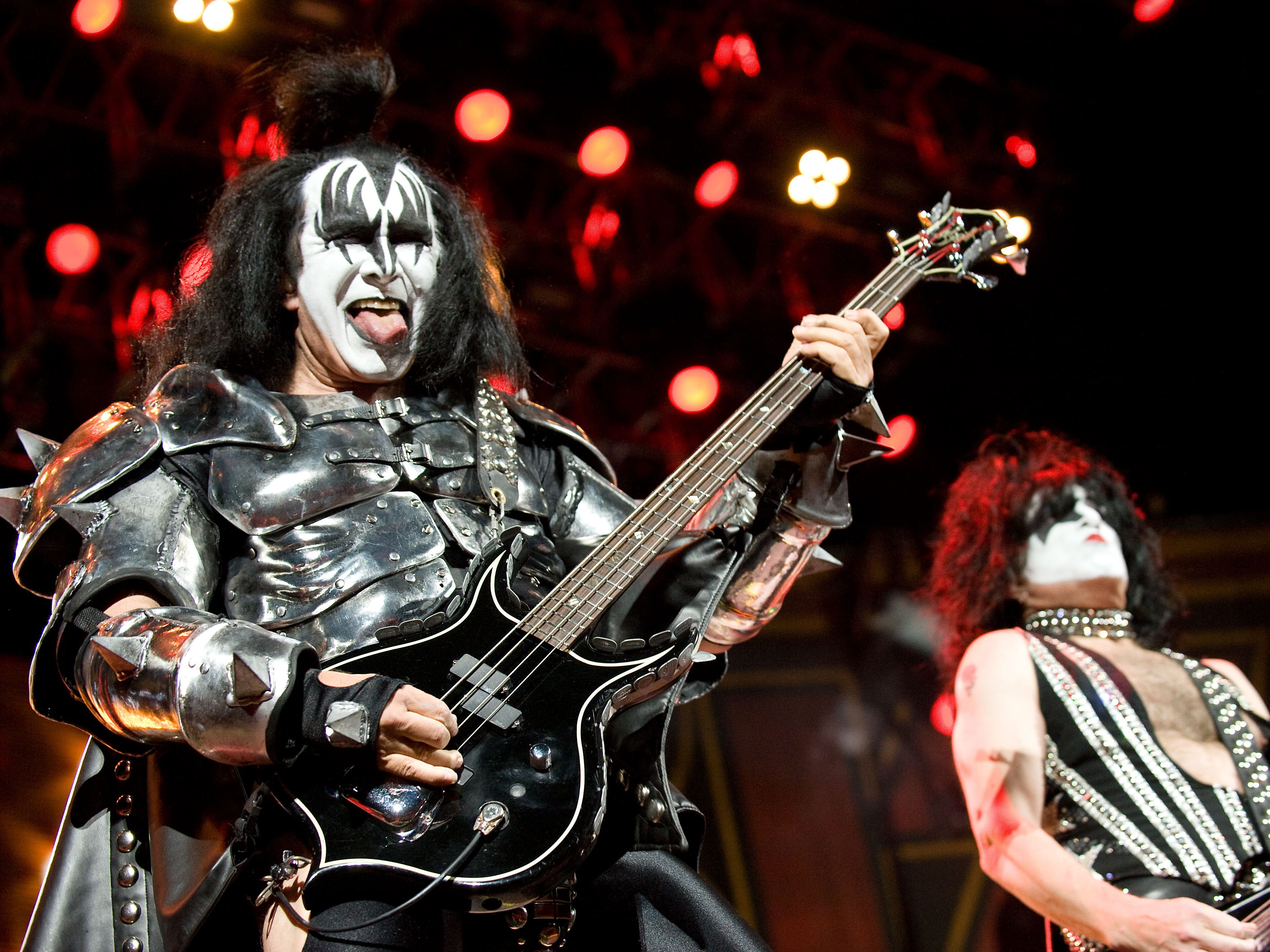 Gene Simmons (L) and Paul Stanley of US rock group Kiss perform at the Verizon Center in Washington on October 13, 2009.