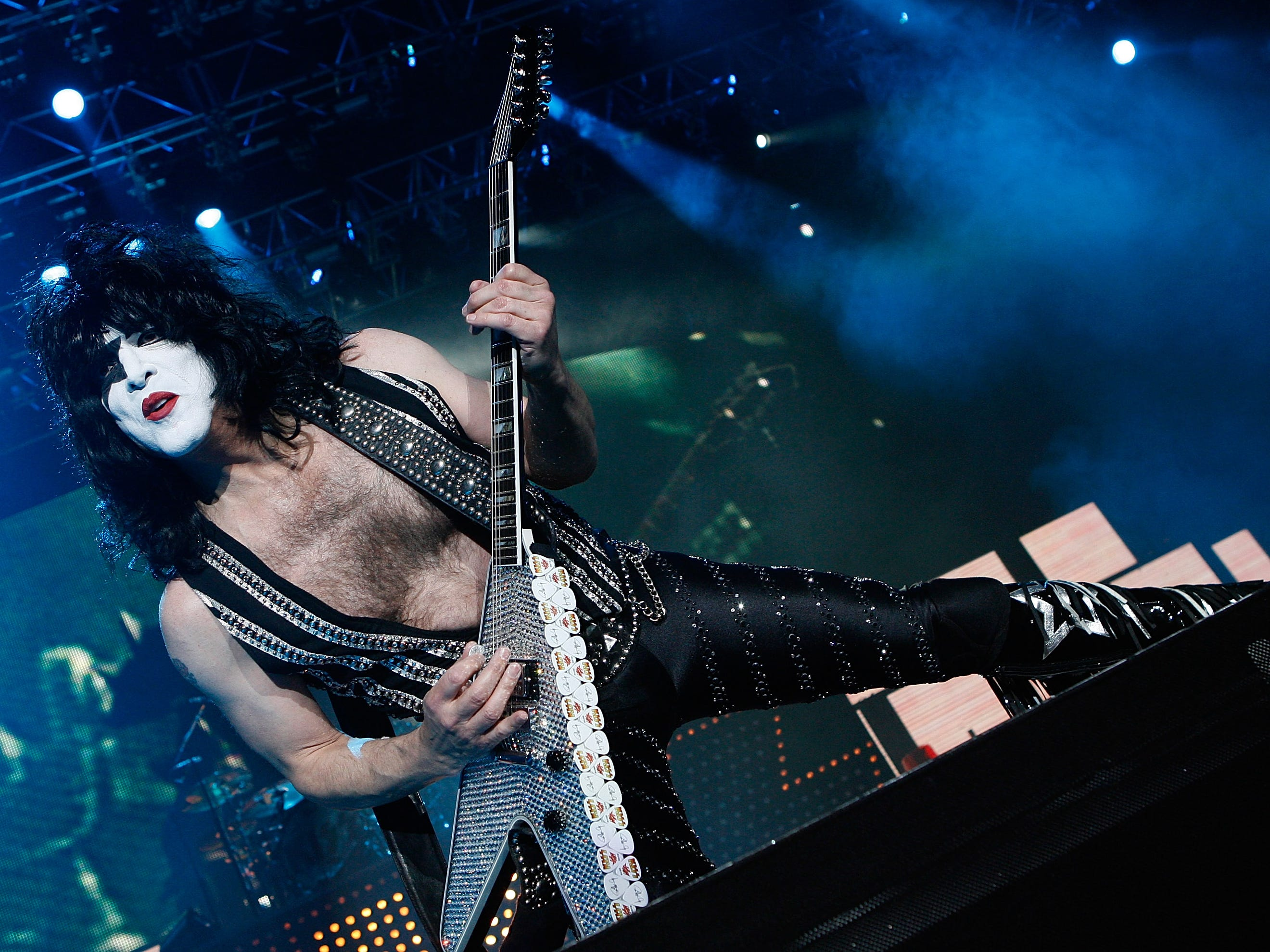 LONDON, UNITED KINGDOM - MAY 12: Paul Stanley of Kiss performs at Wembley Arena on May 12, 2010 in London, England. (Photo by Jo Hale/Getty Images)