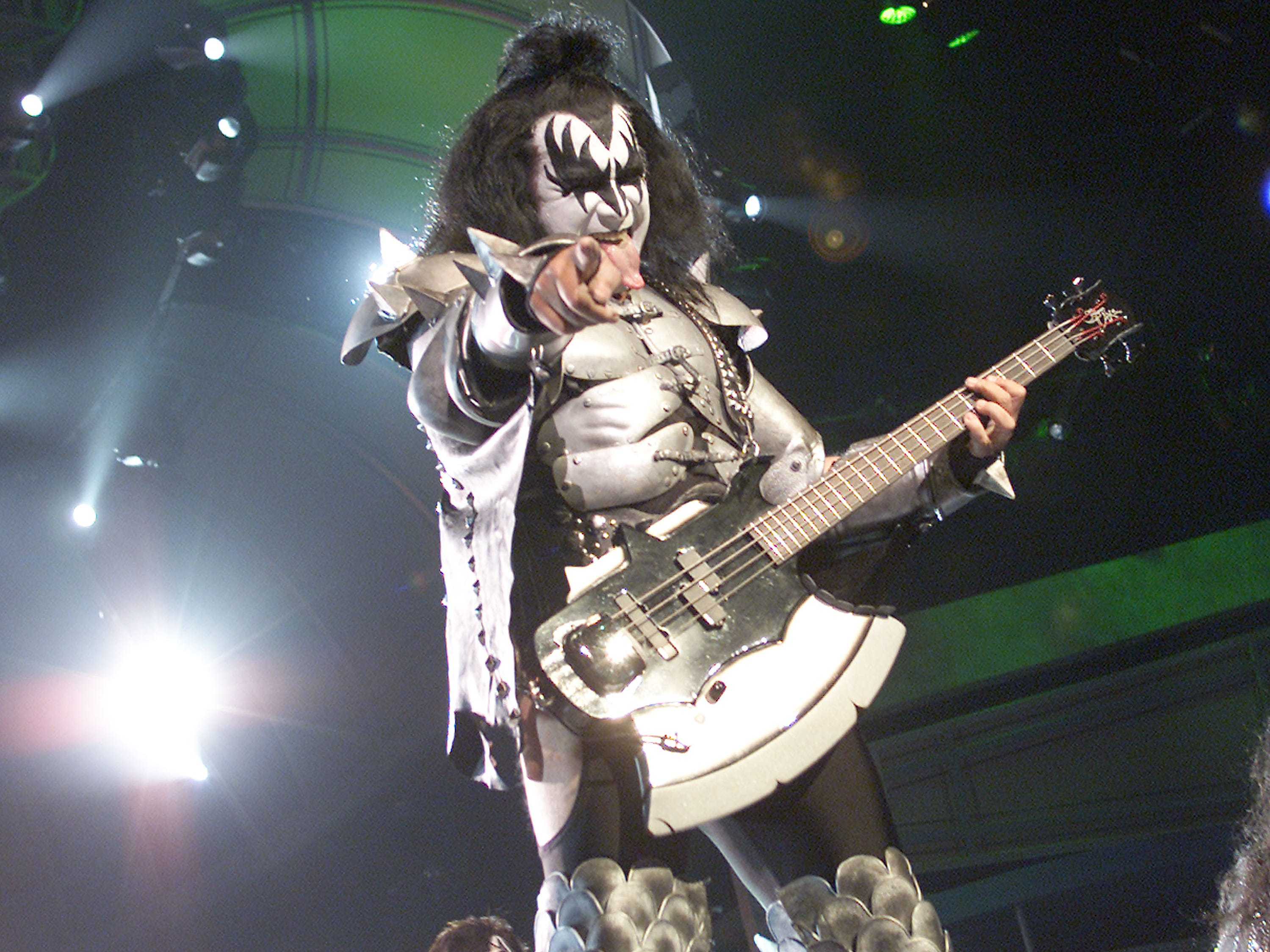 """KISS, with Gene Simmons, performs at a taping of """"American Bandstand's 50th....A Celebration"""" at the Pasadena Civic Auditorium, Pasadena, Ca. Friday, April 19, 2002. Photo by Kevin Winter/ImageDirect."""