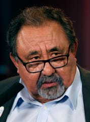 Incumbent Dem. Raúl Grijalva answers questions from reporters following his debate with challenger Rep. Nicolas Pierson in the Congressional District 3 race, Wednesday, October 17, 2018, Tucson, Ariz.