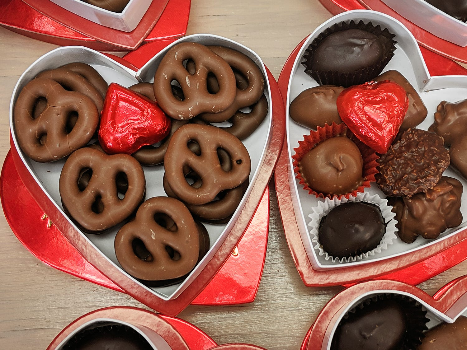 Chocolate covered Sturgis pretzels are in Valentine's Day boxes at Fitzkee's Candies.
