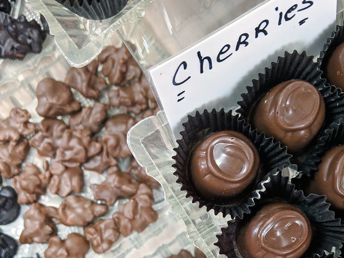 Chocolate covered cherries, light and dark chocolate, are sold at Fitzkee's Candies.