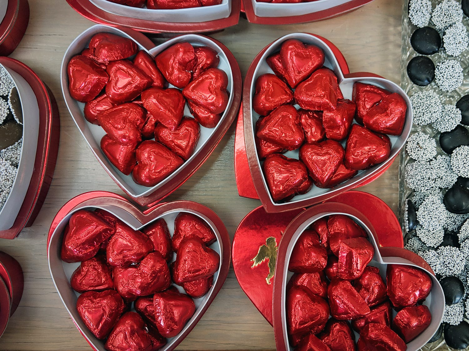 Valentine's Day candy is displayed at Fitzkee's Candies.