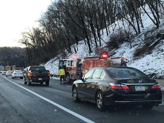 Traffic slowed for a crash Wednesday morning just south of the Mount Rose Avenue exit on Interstate 83.