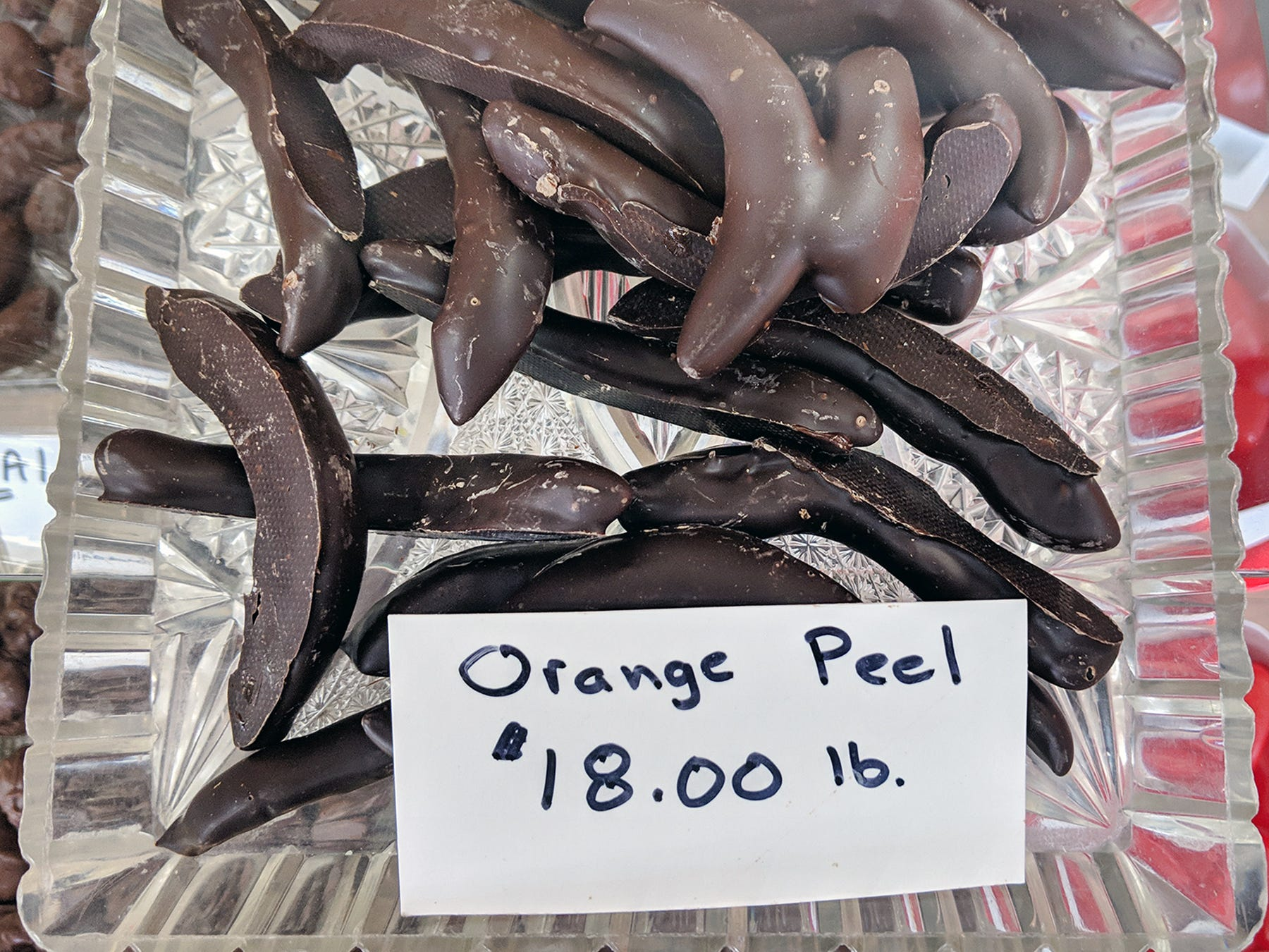 Chocolate-covered orange peel is sold at Fitzkee's Candies.