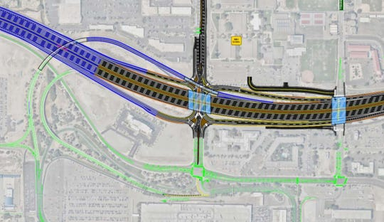 A new rendering of NDOT's preferred Spaghetti Bowl alternative plan, which retains the airport's direct southbound link to the freeway.