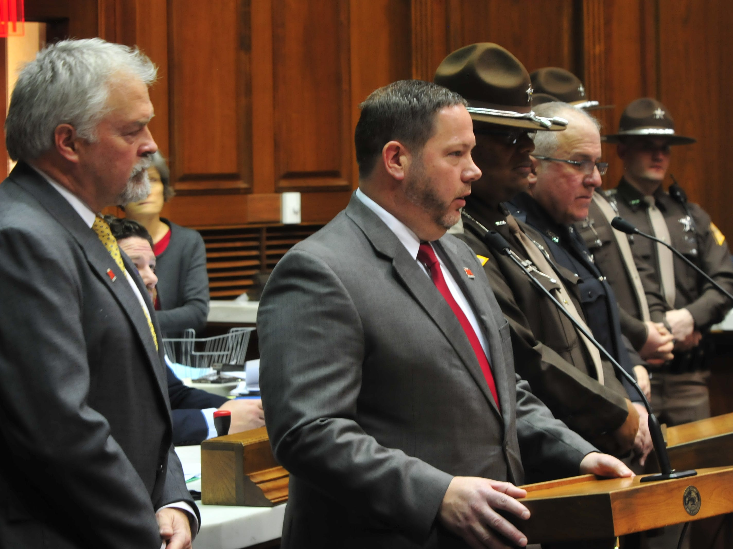 Richmond Community Schools Superintendent Todd Terrill addresses the Indiana House on Tuesday.