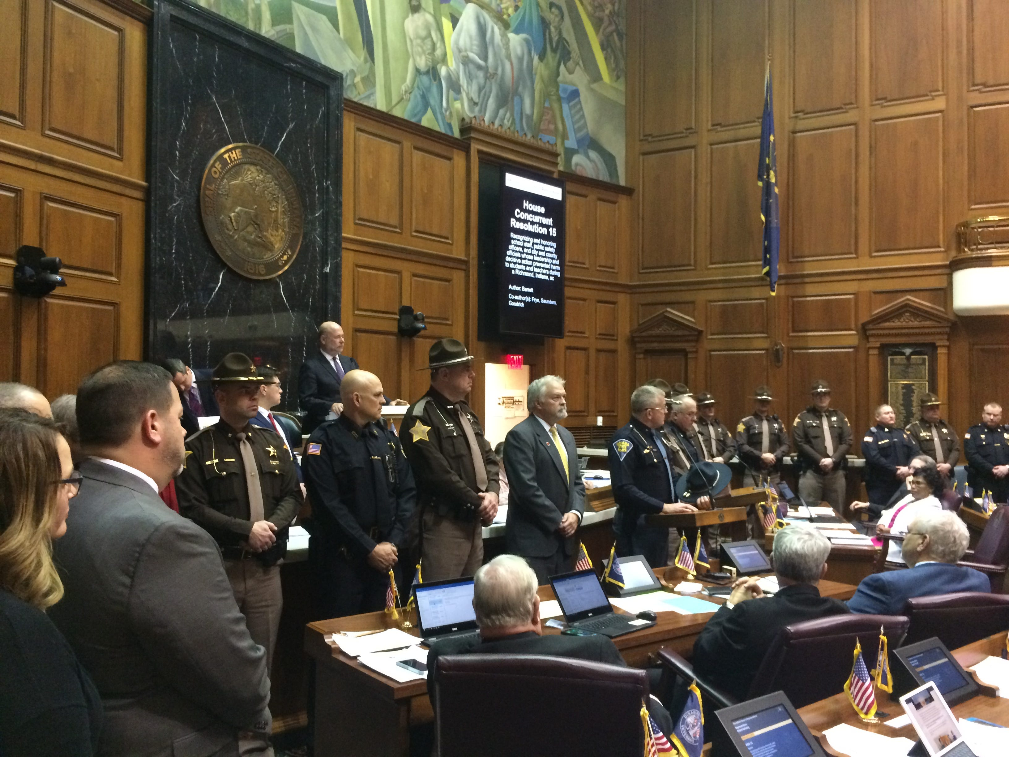 Indiana State Police Superintendent Doug Carter speaks in the House chambers Tuesday.