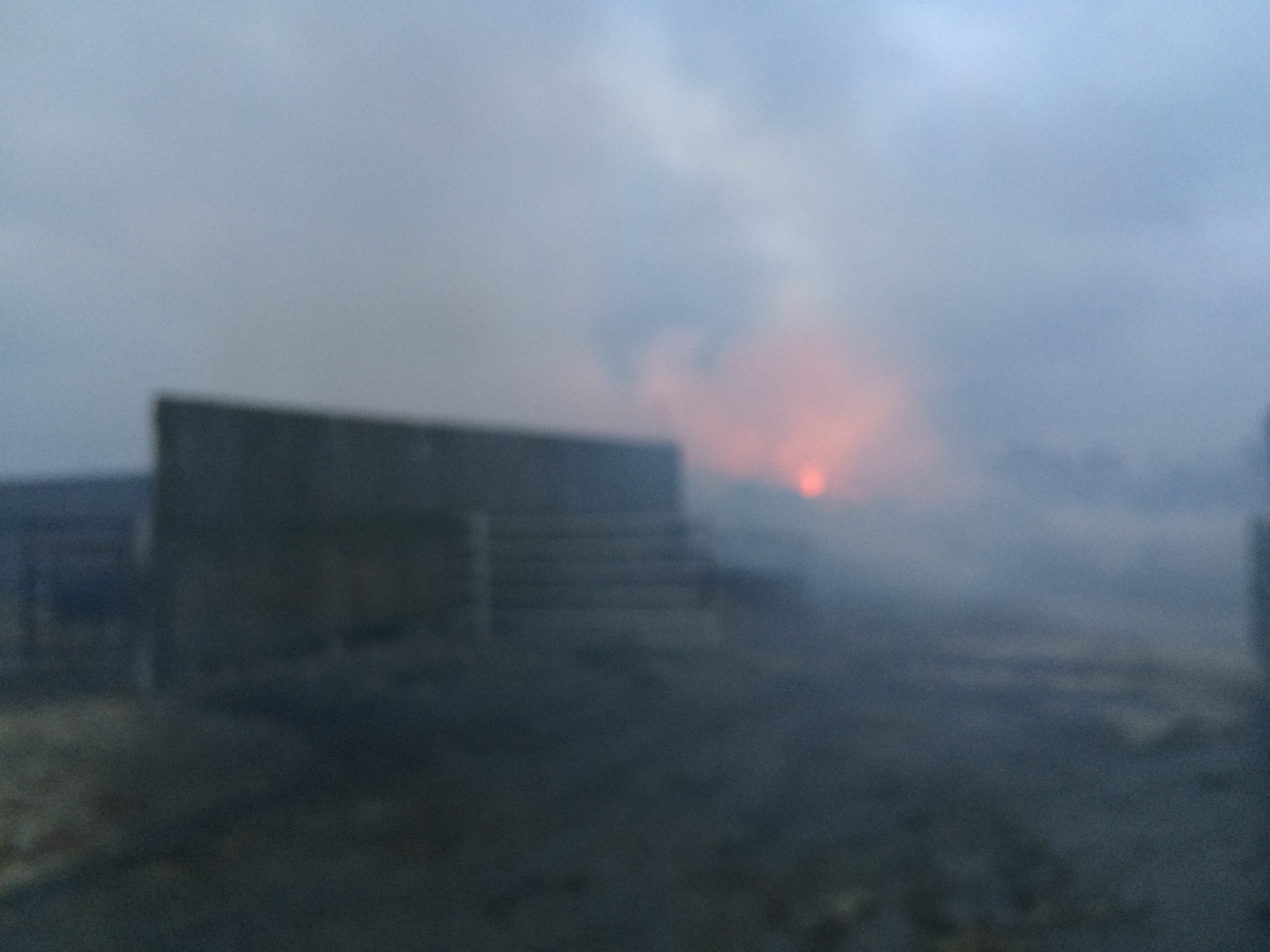 A barn fire Wednesday morning created heavy smoke that was blown by strong winds.