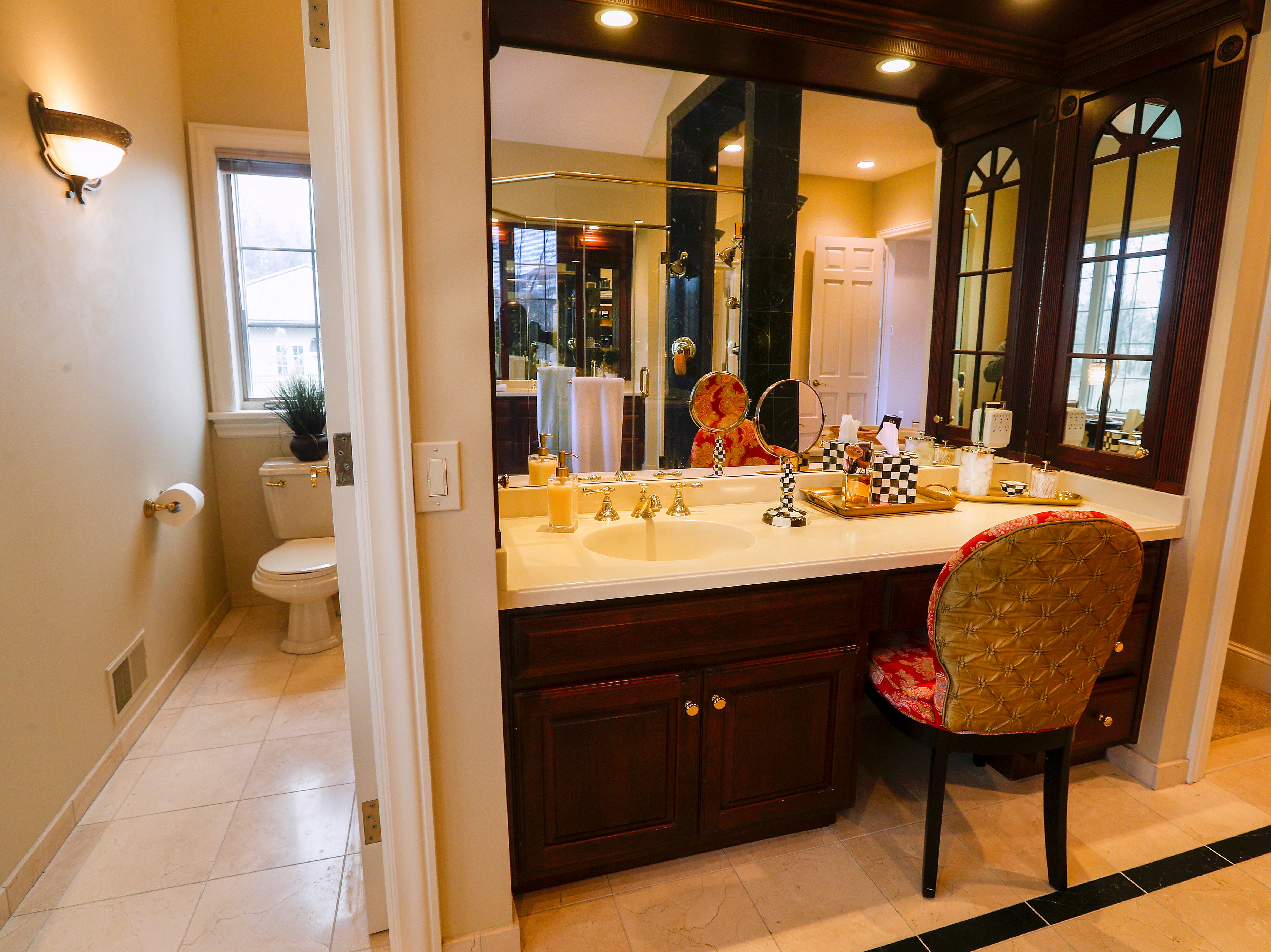 A makeup area in the master bathroom.