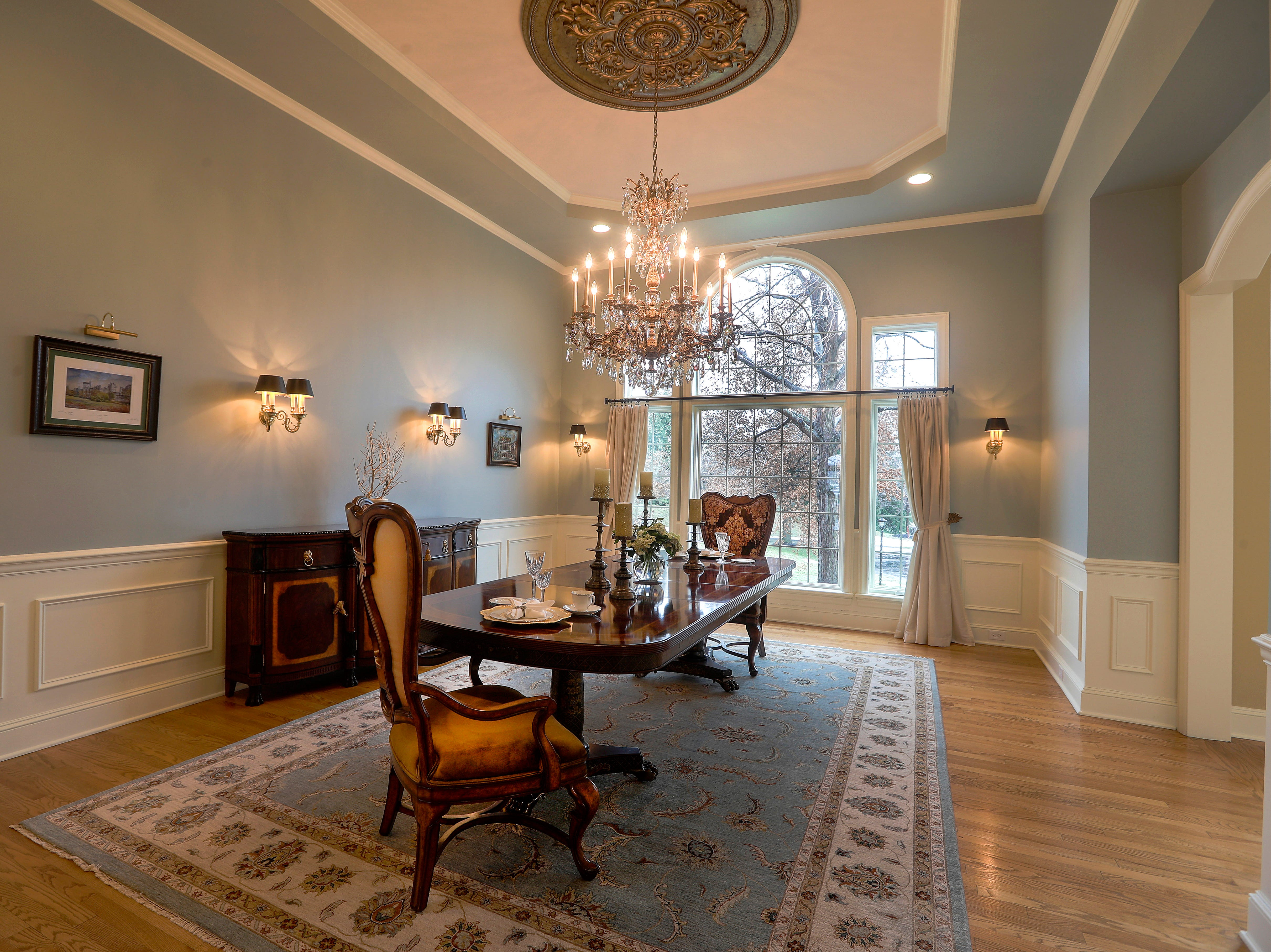 A large formal dining room.