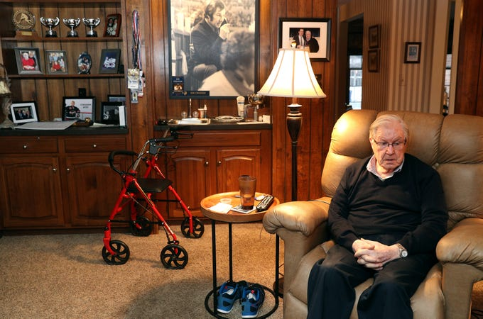 Hockey legend Joe Crozier in his Amherst home.  Joe Crozier coached the Rochester Americans to three Calder Cups and later coached the Sabres. He now suffers from accelerating dementia but still loves hockey.