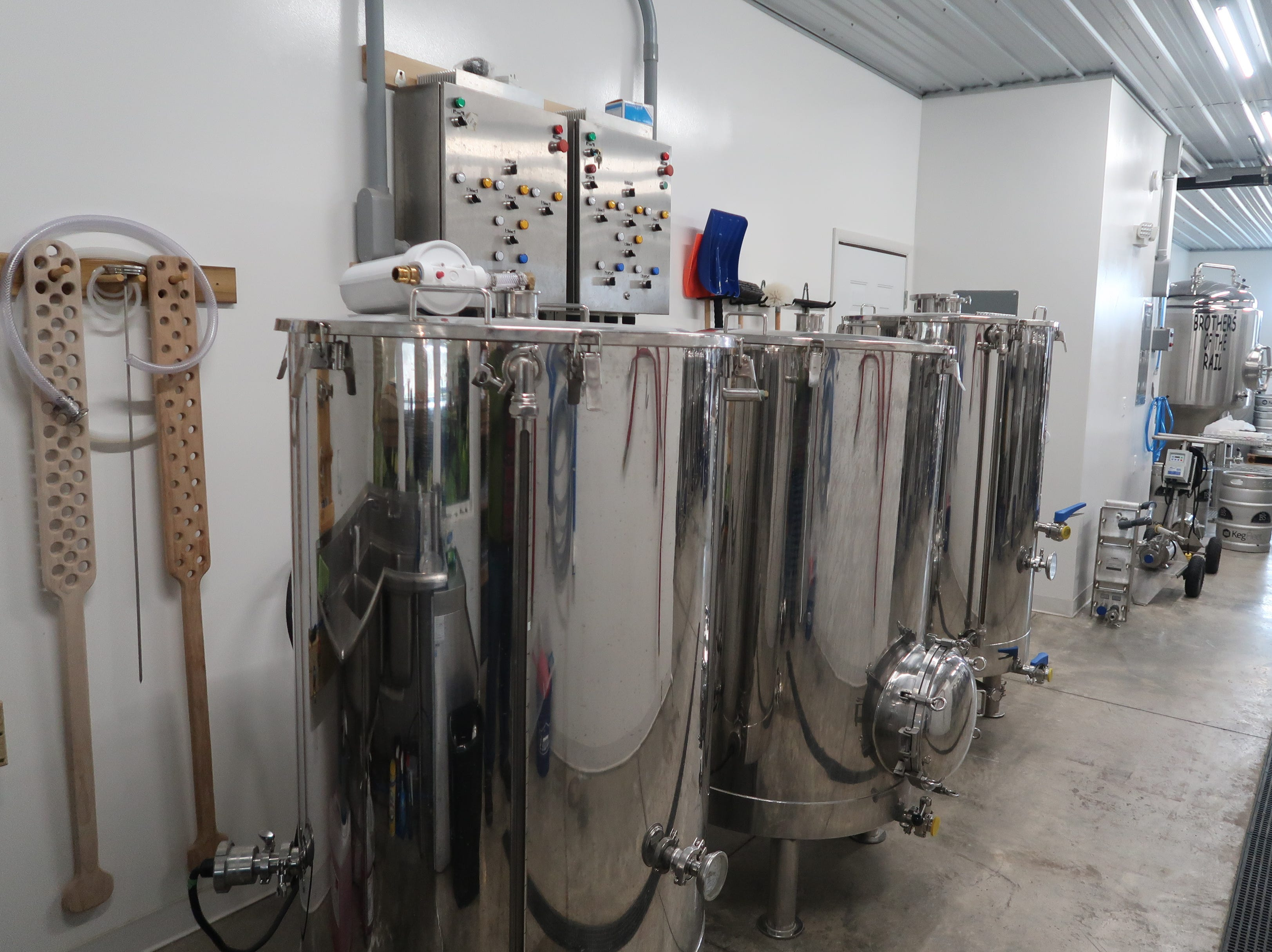 The 3-barrel brewhouse at No BS Brewing in Livonia.