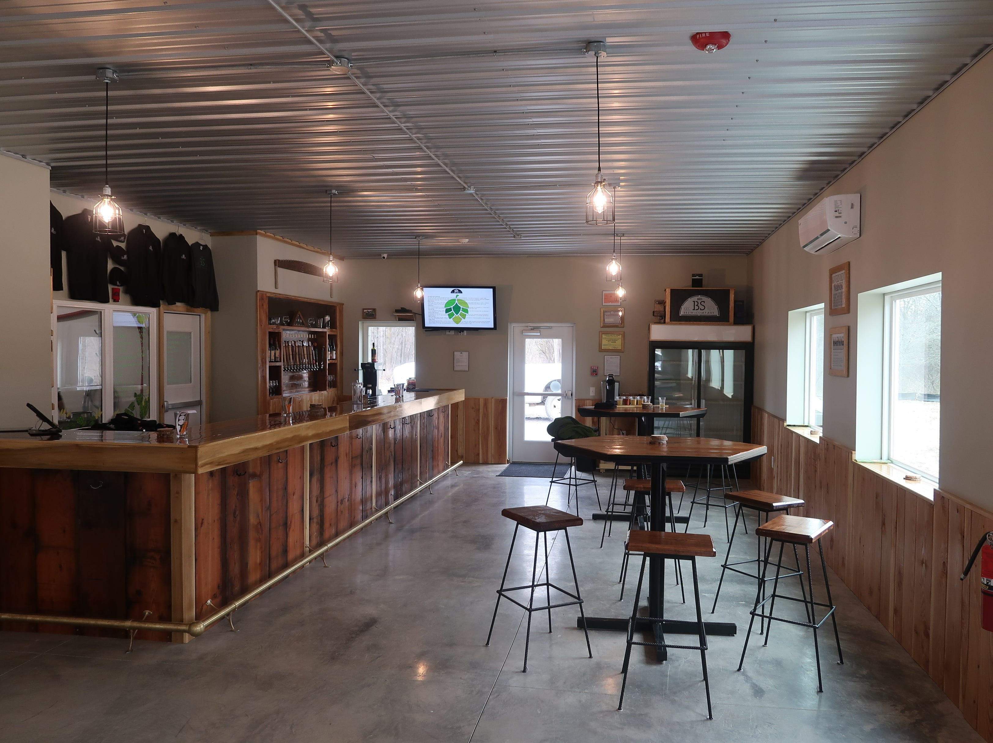 The bar and tasting room at No BS Brewing in Livonia.