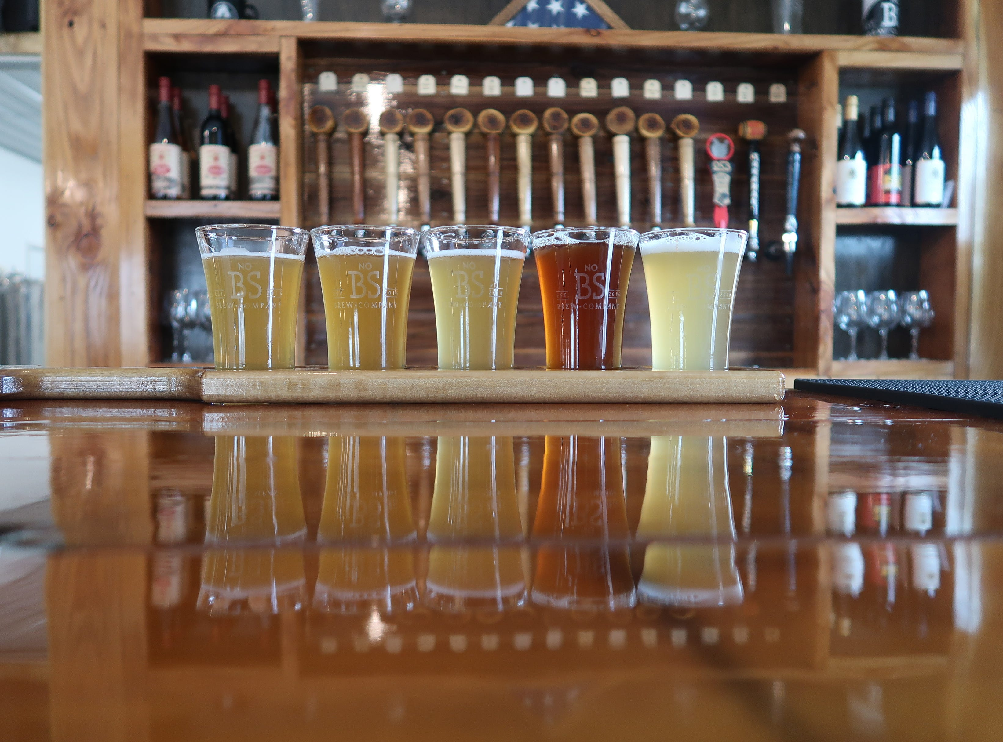 A freshly poured flight at No BS Brewing in Livonia.