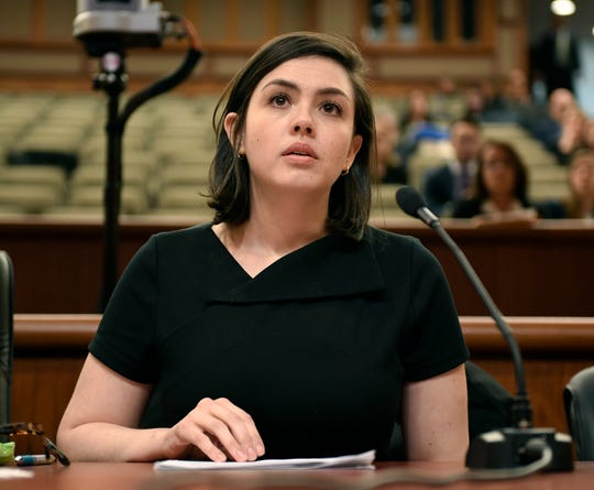 Chloe Rivera tells her story of sexual harassment while for working for former Assemblyman Vito J. Lopez during a New York state joint legislative public hearing on sexual harassment in the workplace Wednesday, Feb. 13, 2019, in Albany, N.Y.