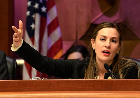 State Sen. Alessandra Biaggi, D-Bronx, speaks to state legislators during a public hearing on sexual harassment in the workplace Wednesday, Feb. 13, 2019, in Albany, N.Y.