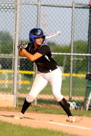 Spencerport softball's Alayna Berry at-bat with her travel team as part of Black and White baseball/softball in West Henrietta, NY.