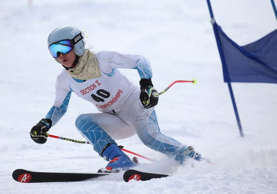 Eleanor Stanton (40) of Pittsford competes in the girls Alpine Section V  Championships at Swain.
