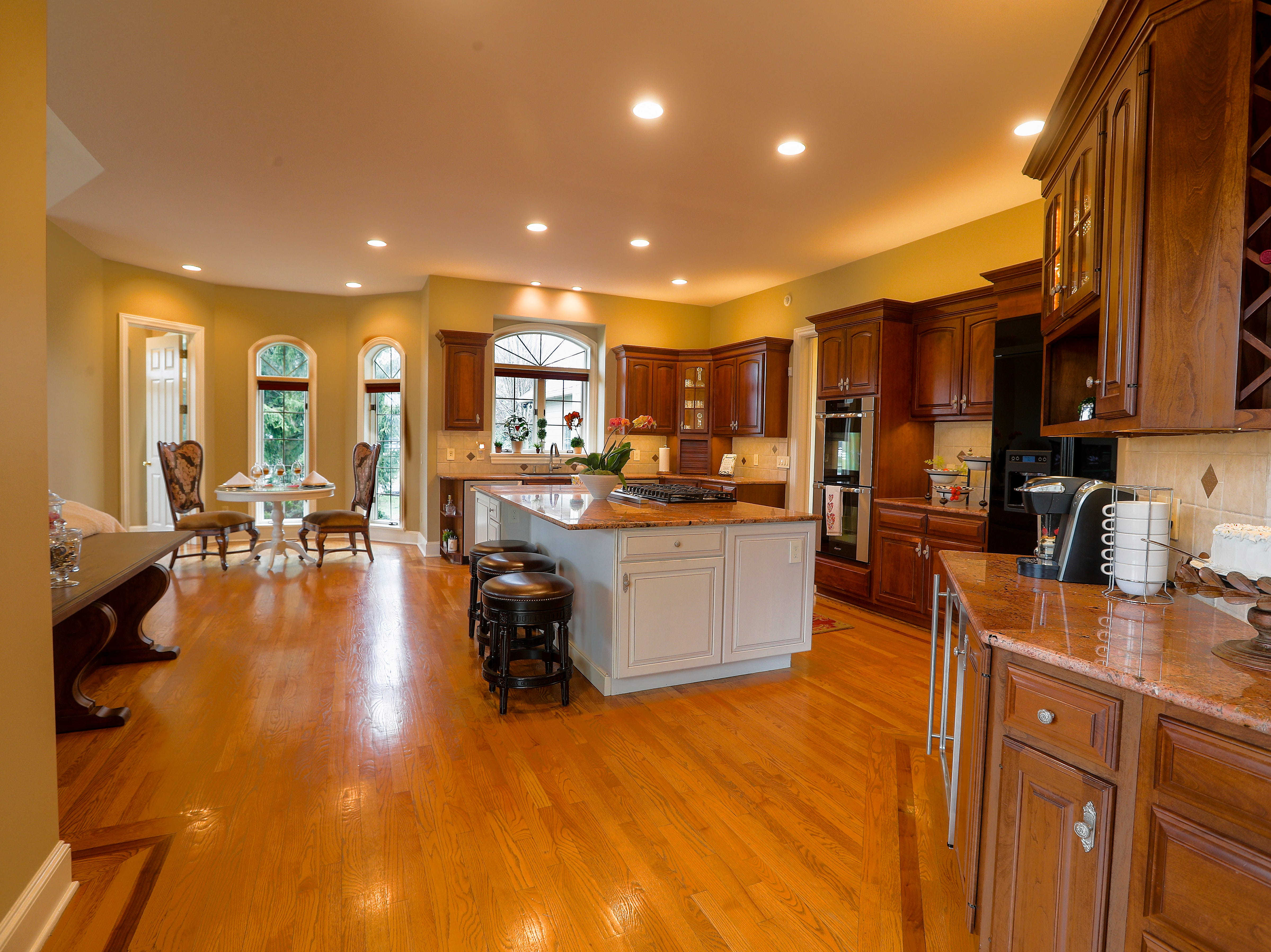 A huge kitchen offers extensive cooking and prep space.