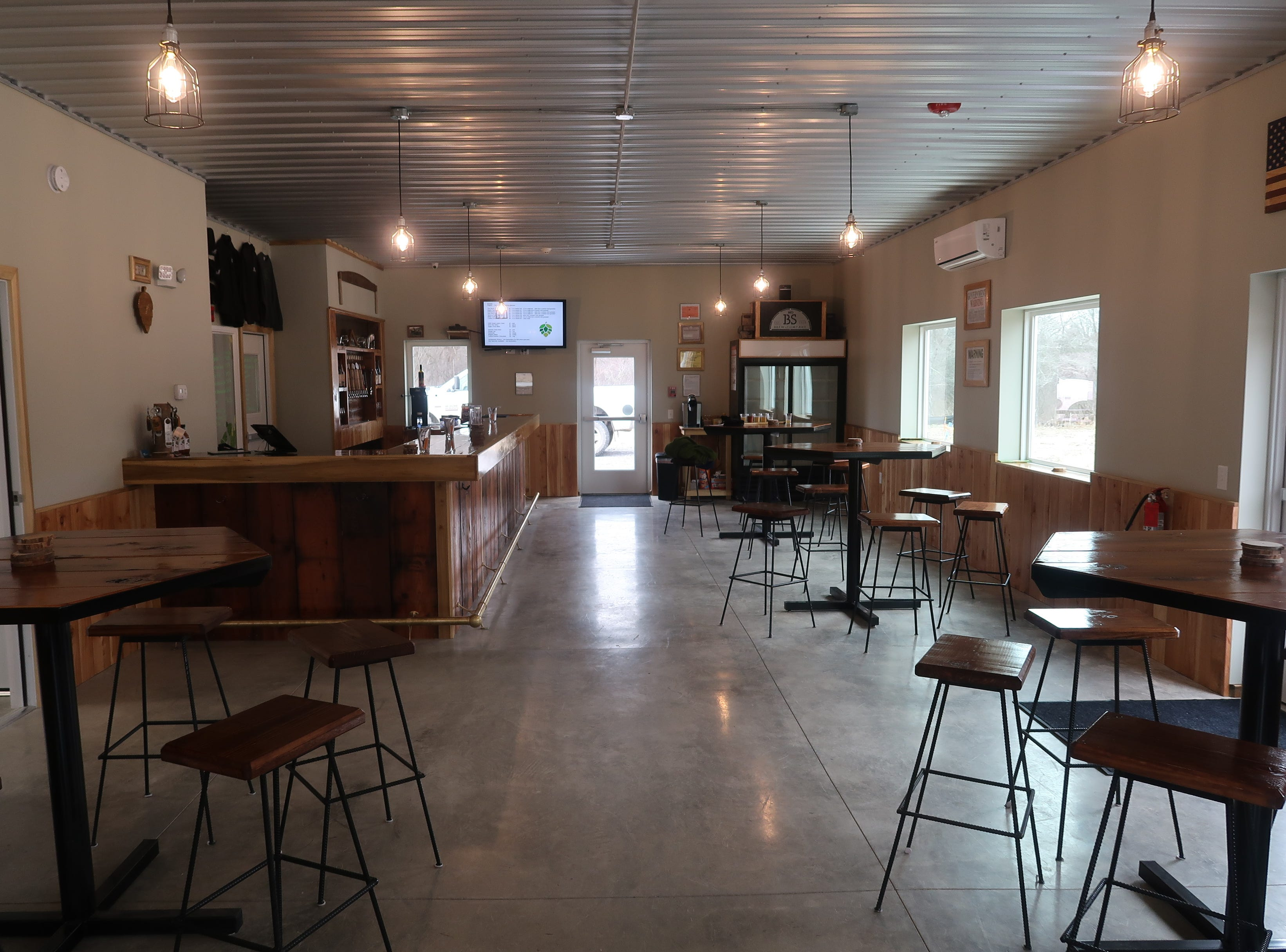 The tasting room at No BS Brewing in Livonia.