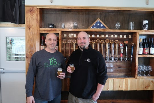 Co-owners Steve Gray, left, and Ben Noragong at No BS Brew Co. in Livonia.