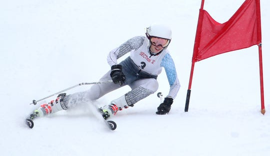 Shannon Hughes (3) of Pittsford wins the giant slalom at the Section V girls Alpine Skiing Championships at Swain.