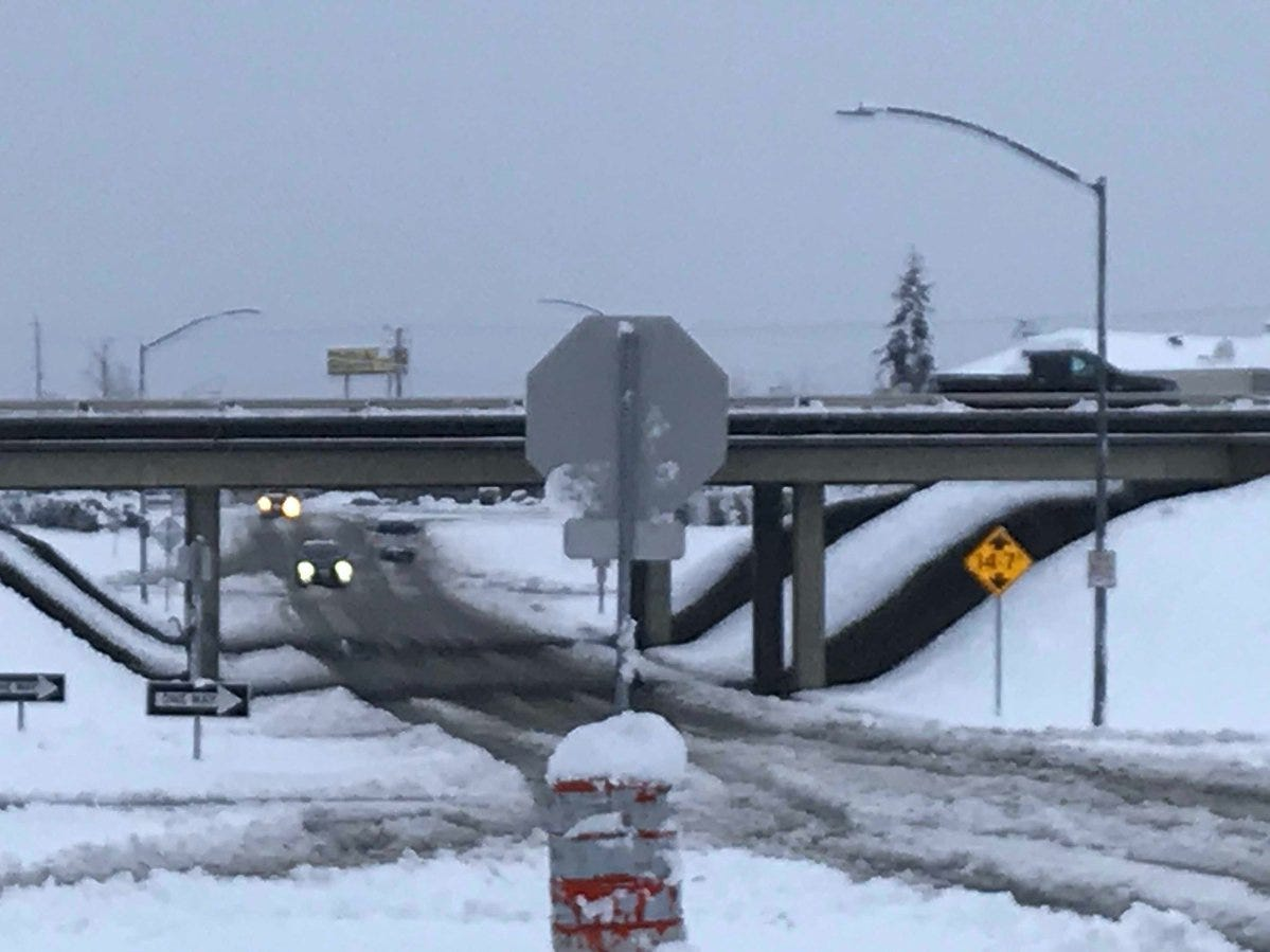 Twin View Boulevard at the I5 turnoff on Wednesday morning after 13 inches of snow hit Redding. While traffic was blocked on much of Twin View, vehicles were moving on I5.