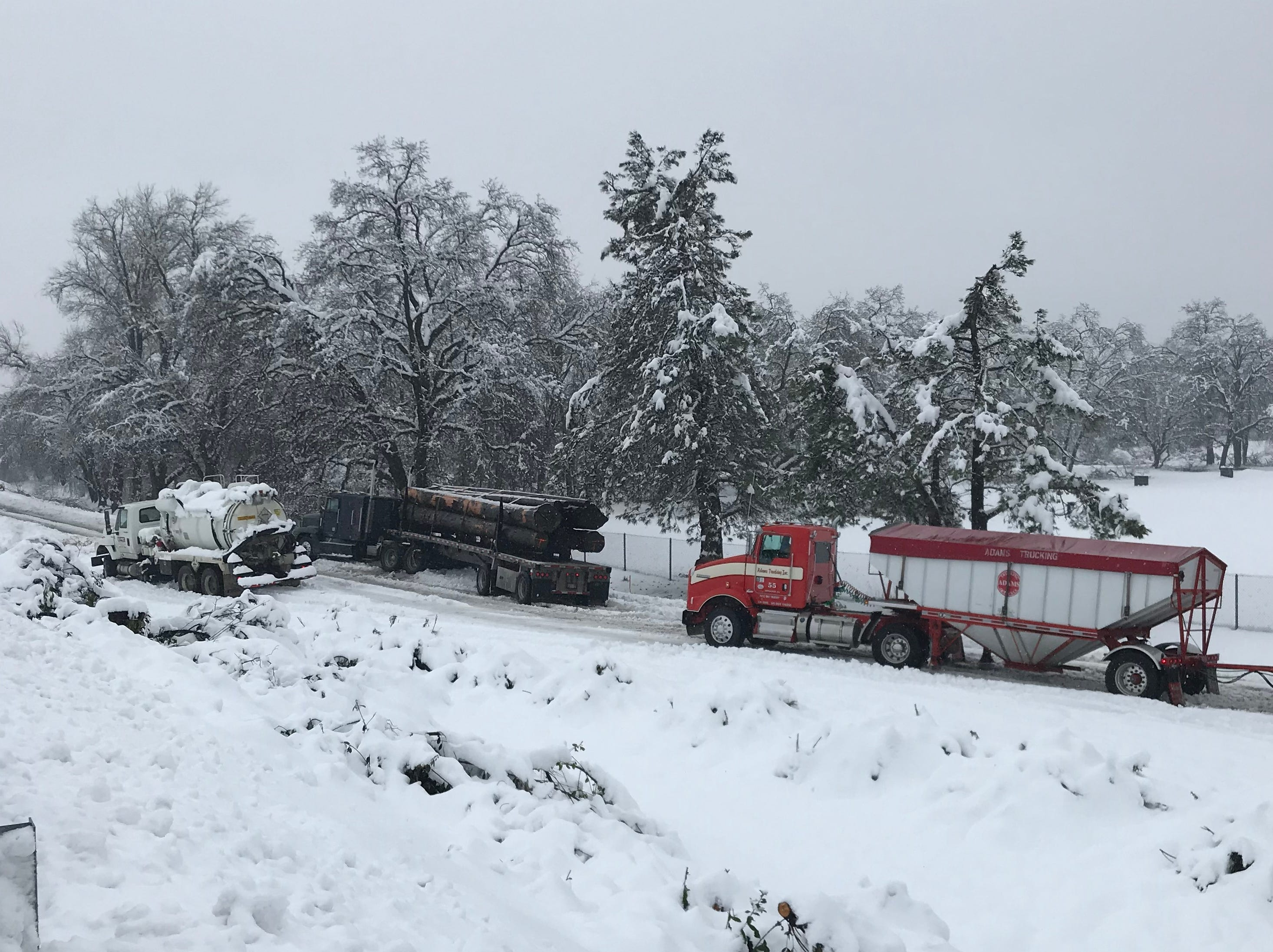 Trucks were stuck on the southbound onramp to Interstate 5 from Balls Ferry Road in Anderson on Wednesday.