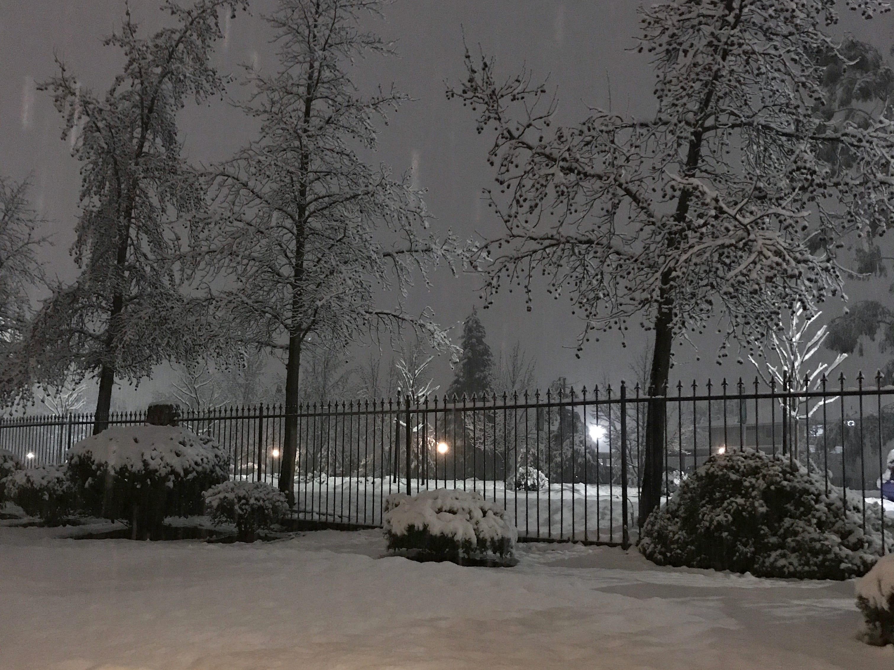 Snow falls on Wednesday, Feb. 13, 2019 in north Redding.