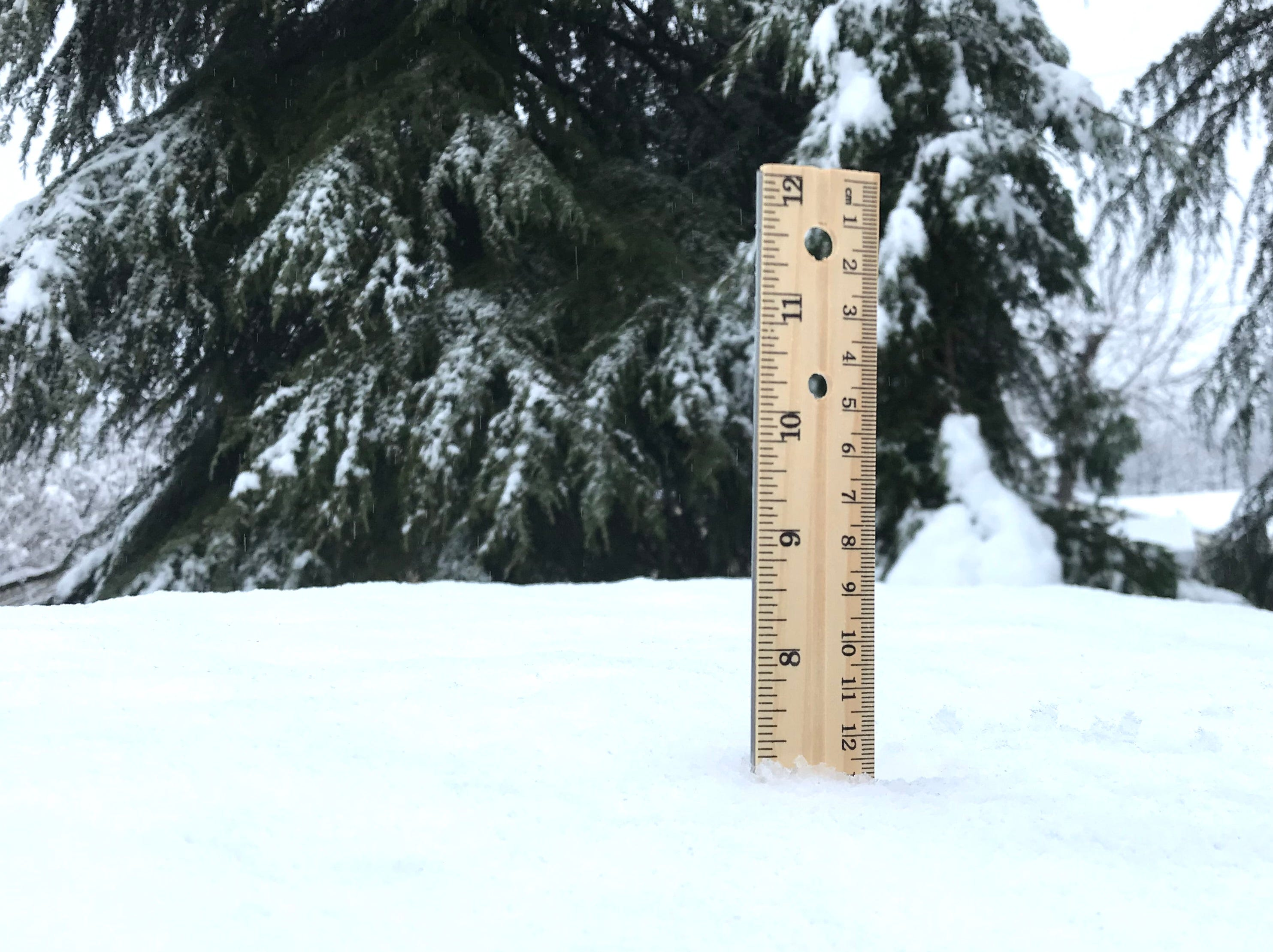 A ruler stuck into the snow in Anderson provided an unofficial measurement of 7 inches.