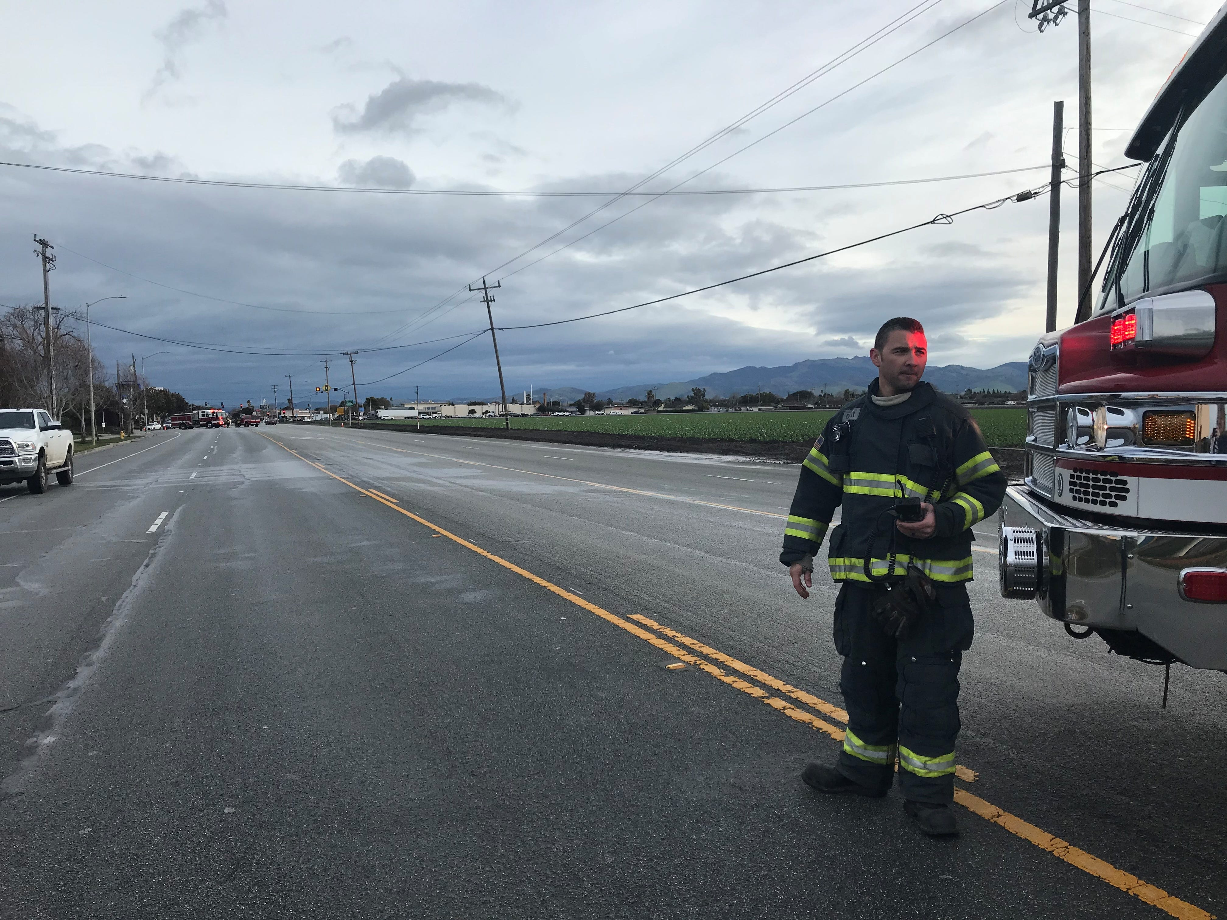 Salinas Fire has shut down the road for a half mile south of West Blanco Road and South Main Street due to high winds knocking a telephone pole off-kilter.