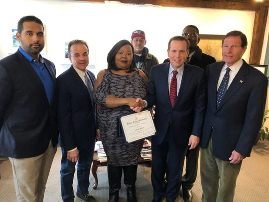 "Connecticut Sen. Richard Blumenthal, right, recently honored Lakesha Stines, center, for her ""innovative entrepreneurial work to address drunk driving."" Also attending were State Sen. Dennis Bradley, Democrat; Bridgeport, Connecticut, Mayor Joe Ganim; Lakesha Stines; and City Representative Tony Barr among others."
