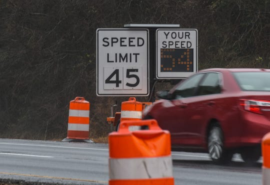 Route 50 speed limit has been lowered at Sixty Foot Road during work to install traffic lights. Tuesday, Feb. 12, 2019.
