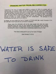 Tangier residents may once again drink water from the town system after a water line was replaced and tests confirmed the water is safe to drink.