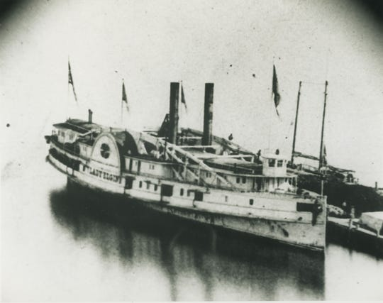 The Lady Elgin, a side-wheel steamer, sunk off the coast of Winnetka, Illinois in 1860.