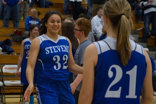 Rapid City Stevens' Kyah Watson (32) gets introduced to the crowd before the game against the Washington in Sioux Falls, S.D., Friday, Feb. 8, 2019.